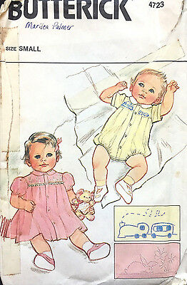 4723 VTG BUTTERICK Infants Yoked Romper Dress Pantie Transfer Pattern Small