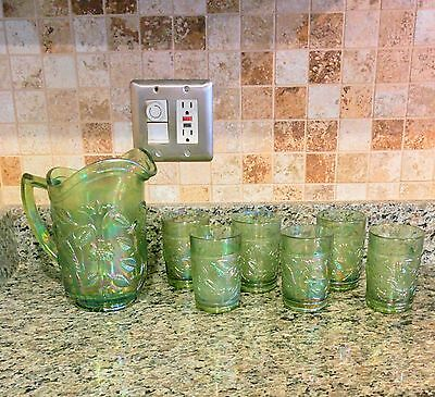 Rare Green Imperial Carnival Glass Robin 6 Pc  Pitcher Set