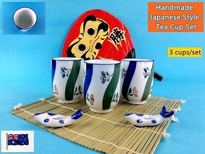 Set of 3 New Handmade Japanese Style Tea Cup Set with Flower Pattern (B148)