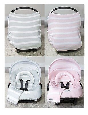 WHOLE CABOODLE CarSeat Canopy 5pc Set STRIPES JERSEY STRETCH Baby Car Seat Cover