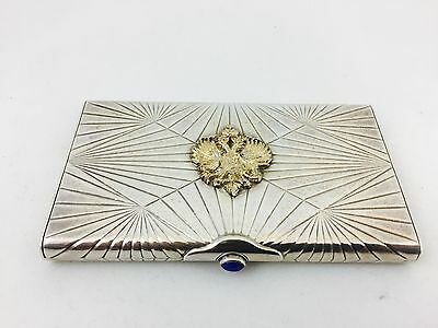 Faberge Sterling Silver Case with Crest and Lapis Clasp
