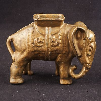 Vintage painted cast metal elephant coin still bank c 1920