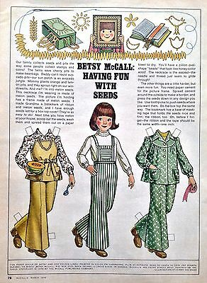 Betsy McCall Mag. Paper Doll, Betsy McCall, Having Fun With Seeds, March 1976
