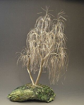 Weeping Willow Silver Wire Tree  Art Sculpture  - 2192