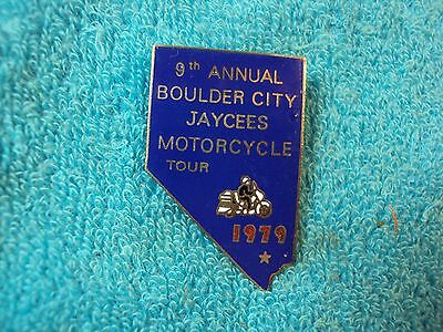 Vtg RARE 1979 Boulder City JAYCEES 9th Motorcycle Tour Nevada State Shape Pin