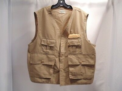 Vintage Saftbak Khacki Waterproof Fishing Vest Men Sz Large