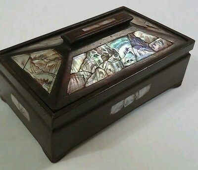 Modern Asian Wood Dresser / Trinket Box inlaid with Mother of Pearl