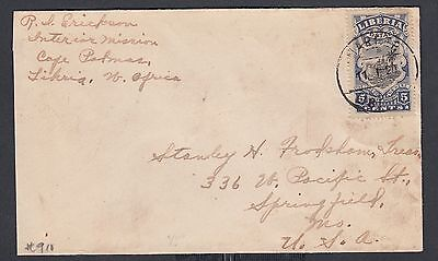 Liberia 1920 5C Liberty Franking Missionary Cover Harper To Springfield Mo Usa