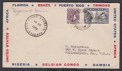 Nigeria 1941 First Flight Cover Ffc Lagos To Miami Florida Usa