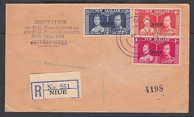 NIUE NEW ZEALAND 1937 TWO REGISTERED CORONATION FIRST DAY COVERS FDCs