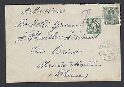 Luxembourg 1924 45C France  Postage Due On Cover Rumelange To France