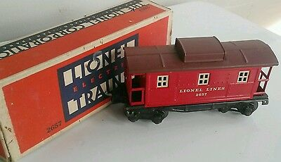 """No. 2657 """"o"""" Gauge Caboose With Electric Coupler~Lionel Electric Trains~With Box"""