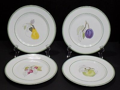 "Set of 4 Vintage 1984 BLOCK SPAL Portugal Watercolors Fruit Design 8"" Plates"
