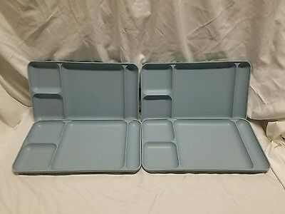 4 Vintage Blue Tupperware Divided Trays Cafeteria/picnic/camping ~Nice~