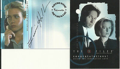 X-Files Season 4 & 5 Laurie Holden AUTOGRAPH AUTO Mint A4 Card & Redemption Card