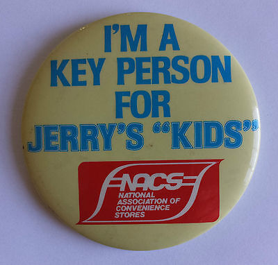 Jerry Lewis Telethon I'm a Key Person For Jerry's Kids 1980s Promo Pinback NACS
