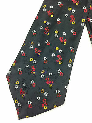True Vintage Mens Necktie Kipper Wide Neck Tie Jacquard Black Shiny Floral Red