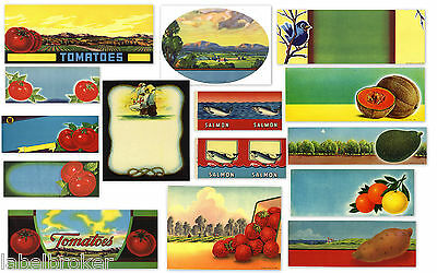15 Fruit Box Crate Labels Vintage Lot Original Stock 1930S 40S 50S Decor Design