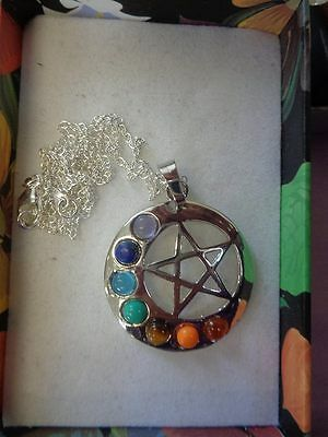 """Chakra Pagan Wiccan Hippy Yoga Pentagram necklace 18"""" 925 silver plated chain"""