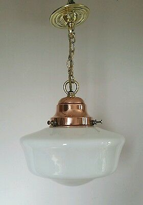 Edwardian Opaline Chapel Ceiling Lamp Original Copper Gallery. Fully Rewired.