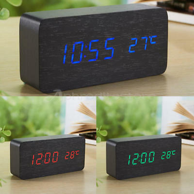 New USB/Battery Powered Wooden Digital LED Desk Alarms Clocks Timer Thermometer
