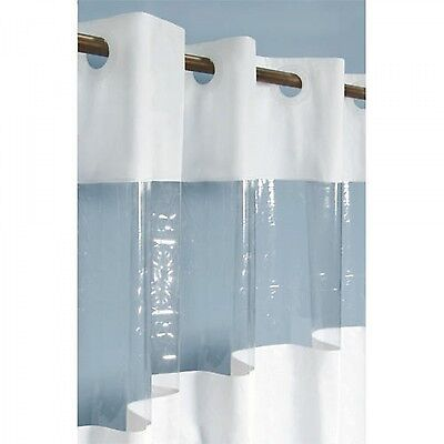 Naiture Hook Free Vinyl Shower Curtain With Clear Panel in 11 Sizes