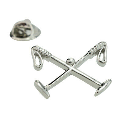 Crossed Polo Mallets Rhodium Plated Lapel Pin Badge X2AJTP561