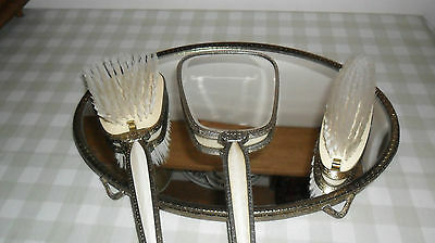 Vintage Dressing Table Set,With  Mirrored Tray ,Hand Mirror & 2 Brushes
