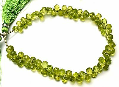 Natural Gem Olive Green Peridot Facet Drop Shape Briolette Beads 4x6 to 5x7MM 8""