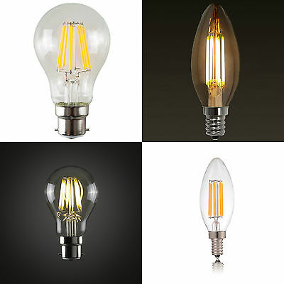 2W 4W 6W 8W LED Filament Light Bulb Retro Style Edison E27 B22 E14 2700K 6000K