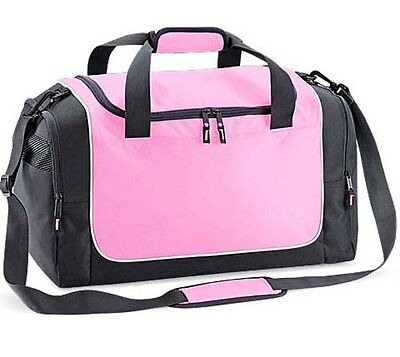 Holdall Weekend Overnight Gym Sports Travel Bag Ladies Womens Girls Pink Grey