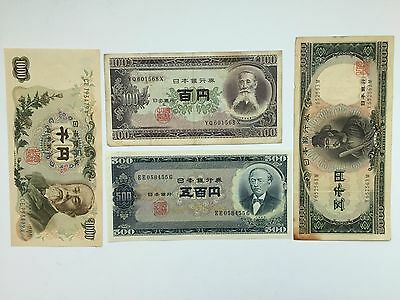 4 Japanese notes lot bundle - vintage 100 500 1000 5000 yen 1953 1957 1963 1969