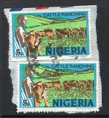 NIGERIA = VARIETY - `Small White Ring flaw blow `R`` Bottom stamp. Used.