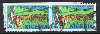 """NIGERIA = VARIETY - `BLUE dot flaw in Sky above """"E R""""`. Right stamp. Used."""