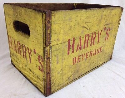 Vintage Harry's Beverage Yellow Wood Crate New Castle, PA 1946 HARD TO FIND