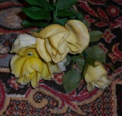 3 STEMS VINTAGE  1950s PLASTIC YELLOW ROSE  FLOWERS GOOD CONDITION