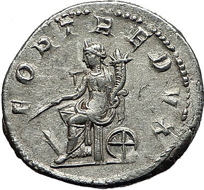 GORDIAN III 240AD Authentic Original  Ancient Silver Roman Coin Fortuna i59028