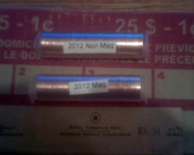 2012 (Two) Cent Rolls Canada 1 Magnetic & 1 Non Magnetic RCM Original Canadian