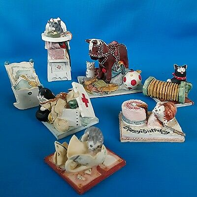 7 Peter Fagan Cat Ornaments Made & Hand Painted Scotland