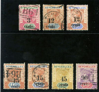 Seychelles 1893 QV Surcharges set complete very fine used. SG 15-21.