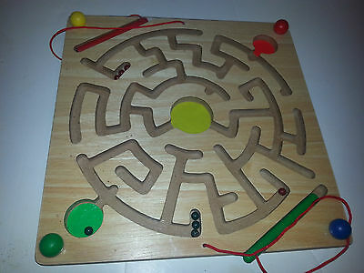 Magnetic Wooden Maze Circle Colors Puzzle kids toy