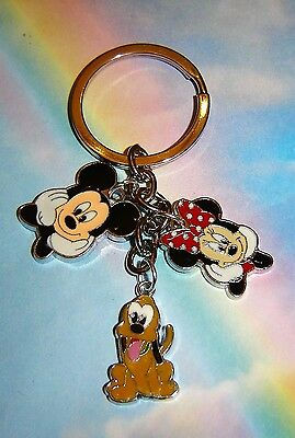 Mickey And Minnie Mouse Pluto Charms Keyring Handbag Charm Keychain In Gift Bag