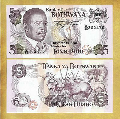Botswana 5 Pula P-11a Prefix C/43 Unc Currency Bill Money ***USA SELLER***