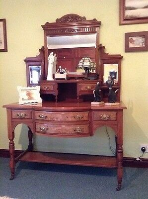 Stunning antique carved bow front mahogany dressing table with burr walnut venee