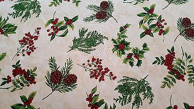 Christmas holly pine cone 52 x 70 inches fabric tablecloth