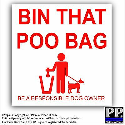 1 x Bin That Poo Bag Warning Stickers-Poo Mess,Dog,Pet,Puppy Self Adhesive Signs