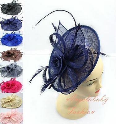 Fascia Cerchietto Hat Piuma Capelli Fascinator Matrimoni Ballo Royal Ascot