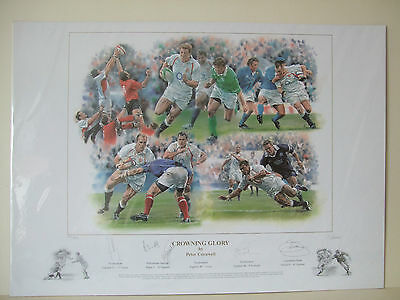 Peter Cornwell Crowning Glory Rugby Print Signed Tindall/Robinson/Thompson/Kay/H