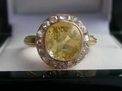 RARE Vintage 5.25ct Yellow Sapphire & Diamond Cluster Ring + 18ct Gold RRP £5000