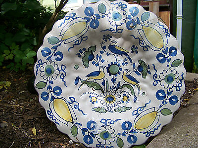 Dutch Delft Fluted Polychrome Charger 1680 Faience Maiolica 17Eme Nevers